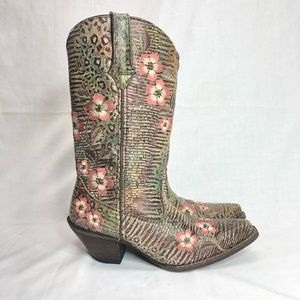 """Durango Western 12"""" Boots Embroidered Floral 6.5"""